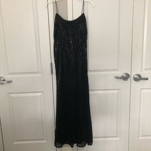 Adrianna Papell black sequin evening gown